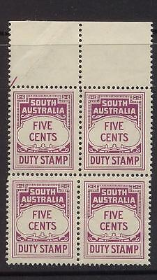 AUSTRALIA - SOUTH AUS., DUTY STAMP 5c, BL.OF 4,MINT HINGED ON SALVAGE,(a24)
