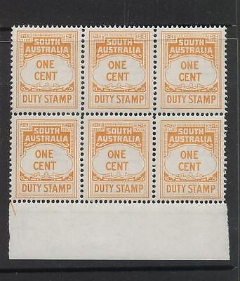 AUSTRALIA - SOUTH AUS., DUTY STAMP 1c, BLOCK OF 6,MINT UNHINGED,(a25)