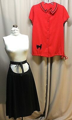 1950s 2 PC Maternity Set Red Poodle Shirt Black Pleated Skirt Open Tummy