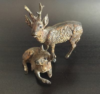 Pair of COLD PAINTED AUSTRIAN MINIATURE BRONZE DEER as is