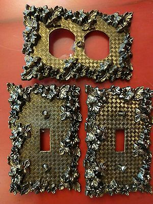 Vintage Flowers & Leaves Brass Switch & Outlet Cover ~ American Tack 75T & 75D