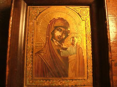 19th CENTURY ANTIQUE RUSSIAN ORTHODOX ICON OF VIRGIN MOTHER OF GOD FEDOROVSKAYA