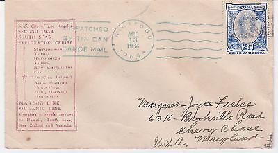 Tin Can Mail Niuafoou Tonga Aug 13, 1934 S. S. City of Los Angeles South Seas