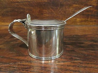 Superb Antique Solid Silver Mustard Condiment Sauce Pot With Monogramed Spoon