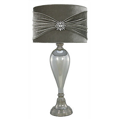 Chrome Glass Classical Bedside Table Lamp With Grey Velvet And Crystal Shade New