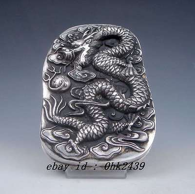 collectibles Tibetan Silver carving Double Dragon Playing with pearl Ink Slab