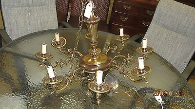 Unique Studded Vintage Solid Brass Chandelier 8 Lights