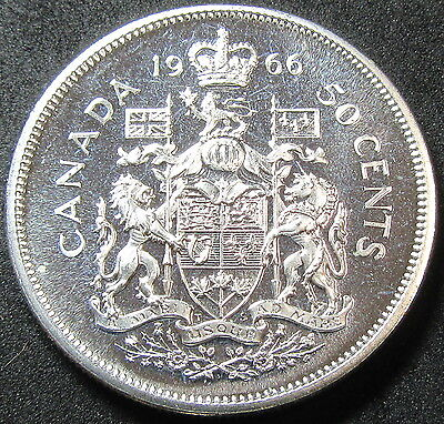 1966 Canada Proof Like Silver Fifty Cent Coin