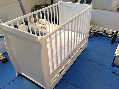 White Cot Bed With Mattress And Sprung Mattress Good Condition