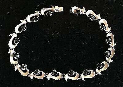Vintage Mexican Sterling Silver and Onyx Necklace - Two Trees