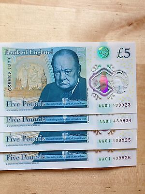 Four NEW Sequential Consecutive Five 5 Pound Notes AA01