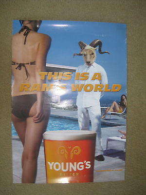 Rare Beer Advertising Poster Young & Co's Brewery 'this Is A Ram's World'