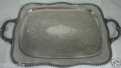 "Antique Silver Plate Butler's Tray 21"" Long Twisted Rims & Handles"