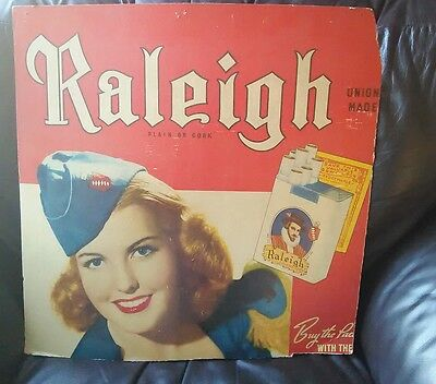 1940's Raleigh Cigarette Poster Sign- War Time-  Beautiful Woman In Uniform