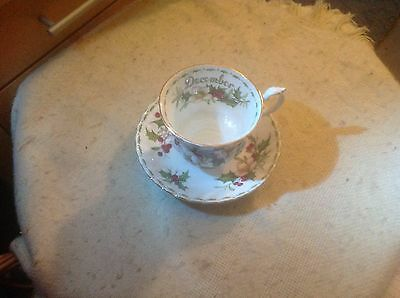 Royal Albert Christmas Rose Cup & Saucer/ Flower Of The Month December