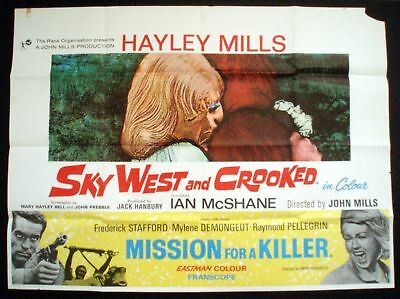 SKY WEST AND CROOKED ORIGINAL 1966  QUAD POSTER HAYLEY MILLS IAN McSHANE
