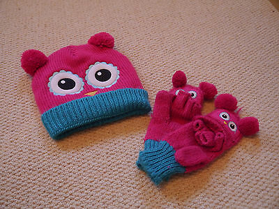 Girls hat and gloves set pink owl one size