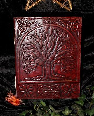 Tree Of Life Leather Bound Journal/book Of Shadows ~ Large ~ Hand Made Paper