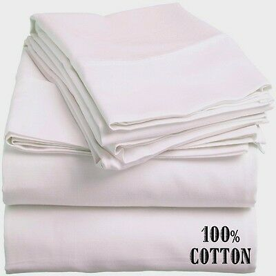 1 New White Queen Size Hotel Flat Sheet 90X110 200 Thread Count 100% Cotton