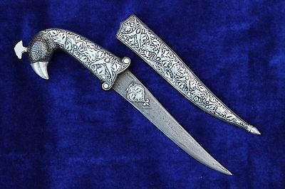 Beautiful Mughal Indo Persian Silver  Damascened Parrot Handle Dagger Knife
