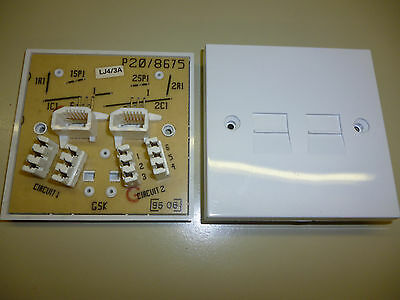 Double Twin Telephone Extension Socket Faceplate 4/3A