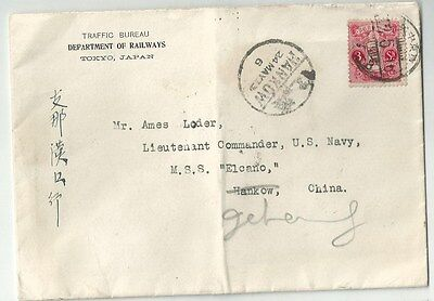 Interesting letter sent from Tokyo to Commander US Navy ship in China 1923