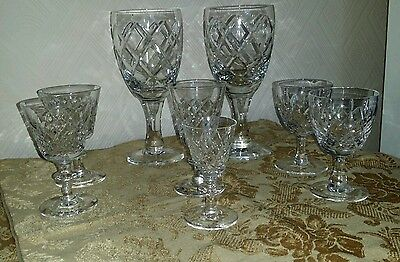 8 Stunning Crystal Cut Glasses / Vintage Quality Selection