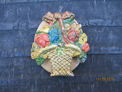 Vintage Cast Iron Door Knocker-Basket of Flowers-Hubley?