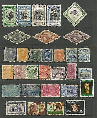 Costa Rica Collection 31 Stamps Good to Fine Used Mounted Mint