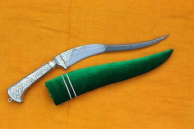 Mughal Vintage Indo Persian Islamic Caligraphy Silver Inlay Damasened Dagger