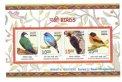 India 2016 Threatened Birds Ms/ss Limited No's Printed Pigeon, Flycatcher, Etc.