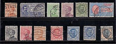 Italy. 1 mint and 12 used stamps issued 1918 to 1926. Catalogue £27