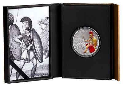 2016 Niue $2 1 oz. Colorized Antiqued Silver Warriors: Spartans In OGP SKU43688