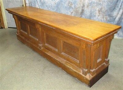 """9' 10"""" Oak Country Store Counter Vintage Frontbar Backbar Display Cabinet Buffet"""
