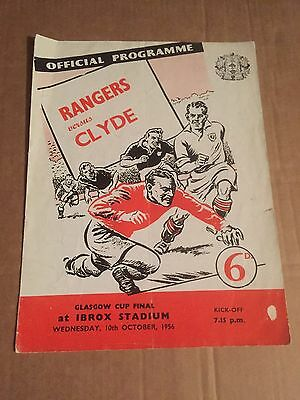 GLASGOW CUP FINAL GLASGOW RANGERS v CLYDE Football Programme 10th October 1956