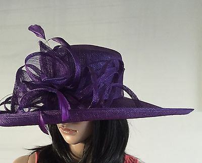 Ladies Purple Wedding Ascot Hat Formal Occasion Mother Of The Bride Hat Sale