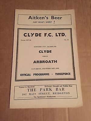 CLYDE v ARBROATH Football Programme 15th February 1958 Scottish Cup