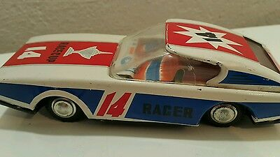 Vintage Car Tin Toy Friction Mf 257 Race Cup Racer #14 China