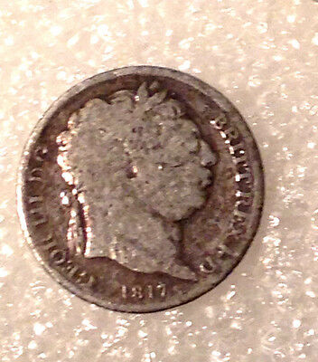 1817  six pence .925 Sterling Silver  #94