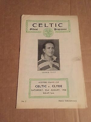 Scottish League Cup Glasgow Celtic v Clyde Football Programme 23rd August 1958