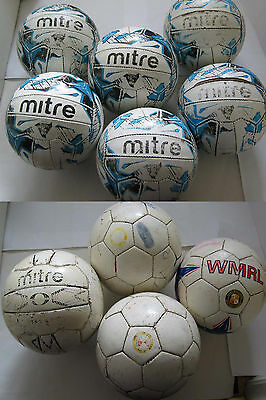 10 TRAINING FOOTBALLS (7 x MITRE, 3 x UNBRANDED) SIZE 5. ***USED