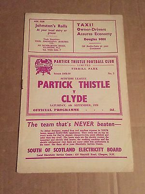 PARTICK THISTLE v CLYDE Football Programme 6th September 1958 Scottish League