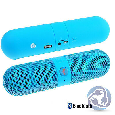 Blue Portable Bluetooth Wireless FM Stereo Speaker For SmartPhone Tablet iPhone