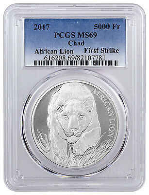 2017 Republic of Chad 5000 Francs 1 oz Silver African Lion PCGS MS69 FS SKU43314