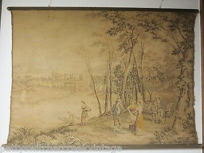 Antique Estate Find Large Aubusson Style Verdure Tapestry Mounted Framed-53x47