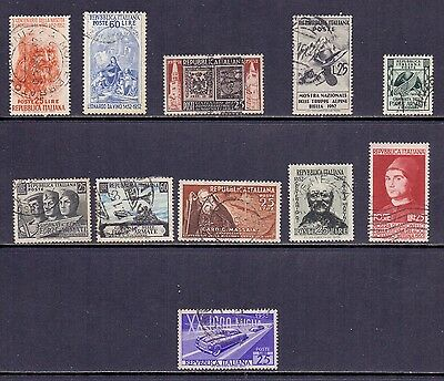 Italy. 11 used stamps issued 1962/1953