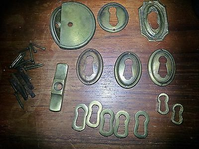 Lot of Antique Brass escuteons, hand crafted keyholes, misc hardware