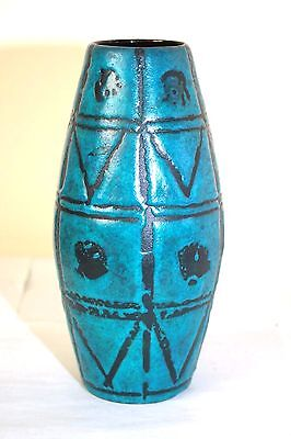 Large West German Blue Motif Vase