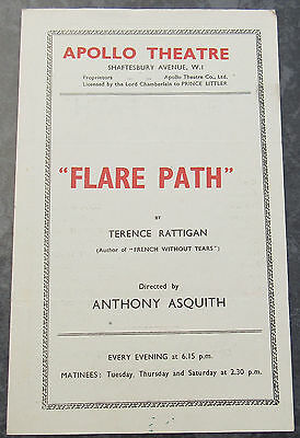 Apollo Theatre London Vintage Programme Flare Path by Rattigan / Asquith 1940's?