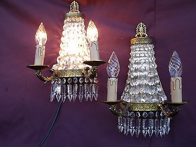 @ Lovely Xl Pair French Vintage Wall Lights Sconces With Nice Glass Crystals !